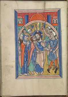 Images from the life of Christ - The arrest of Christ, the kiss of Judas - Psalter of Eleanor of Aquitaine (ca. 1185) - KB 76 F 13, folium 021v.