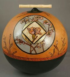 Beautiful Cherry Tree, by gourd artist , Carla Bratt. Carved and wood burned gourd art.