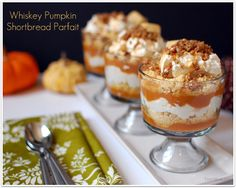 Whiskey pumpkin shortbread parfait