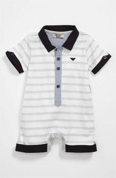 Armani Junior Stripe Romper (Infant) | Nordstrom