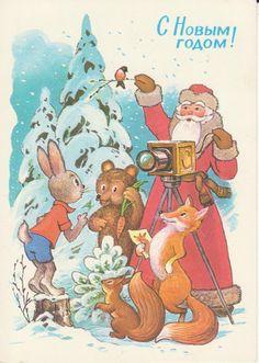 Soviet Vintage Postcard NEW YEAR Santa Ded Moroz Hare Fox Squirell Photo Camera | eBay