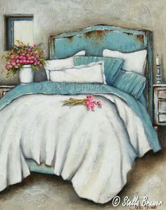Stella Bruwer white and aqua bed Turquoise Cottage, House Of Turquoise, Stella Art, Muebles Shabby Chic, Aqua Bedding, South African Artists, Art Themes, Claude Monet, Pablo Picasso