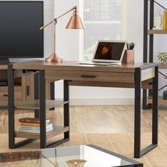 Add an industrial-inspired update to your office with the Theodulus<br/>Computer Desk. Store office accessories in the spacious drawer, and showcase accessories and décor on the open shelving. Wood Office Desk, Home Office Desks, Office Furniture Design, Bedroom Desk, Cheap Furniture, Furniture Stores, Furniture Websites, Furniture Market, Inexpensive Furniture