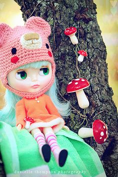 Love the bear hat and little mushrooms on the tree! by DanielleT @ flickr