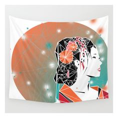 Geisha Wall Tapestry (€34) ❤ liked on Polyvore featuring home, home decor, wall art, wall tapestries, outdoor wall art, tapestry wall art, outdoor home decor and outside home decor