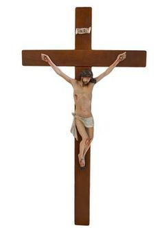 altezza Cristo cm. 40 in resina croce di legno cm. 80x43 dipinto con colori acrilici  http://www.ovunqueproteggimi.com/collezione-statue/ges%C3%B9/cristo-in-croce/