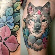 #neo #traditional #wolf #tattoo #neotrafitional