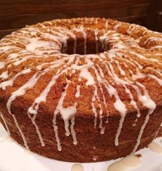 Full Cake Mix Cinnamon Bundt Cake on cake stand with vanilla glaze icing drizzle. French Vanilla Cake, Vanilla Cake Mixes, Vanilla Pudding Mix, Vanilla Glaze, Vanilla Icing, Glaze Icing, Cinnamon Coffee, Cookie Do, King Arthur Flour