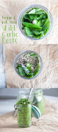 Recipe for a vegan & nut-free Wild Garlic Pesto! It's the perfect way to use all your wild garlic. Clean Recipes, Raw Food Recipes, Veggie Recipes, Cooking Recipes, Healthy Recipes, Sauce Recipes, Free Recipes, Raw Vegan, Vegan Vegetarian