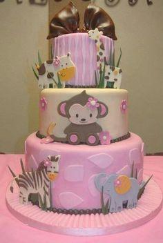 Cute animal theme baby cake
