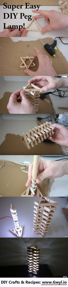 Are you looking for an easy, fun to make and unique DIY project? Check out this DIY Clothespins or Peg Lamp! See full written and videos instructions here: http://gwyl.io/make-lamp-clothes-pins/