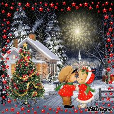 Purple Christmas Tree, Christmas Kiss, Whimsical Christmas, Vintage Christmas Cards, Retro Christmas, Christmas Pictures, Merry Christmas Animation, Xmas Gif, Christmas Decorations