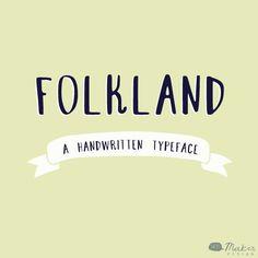 Folkland - A Handwritten Typeface - Font. $20.00, via Etsy.