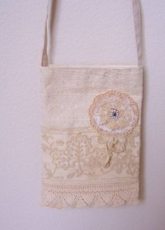 Vintage style shabby chic mini tote bag with by twocooltexans, $27.50