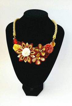 Flower bib necklace, Kanzashi necklace with flowers, Fabric necklace, Unique gift for her, Statement necklace, Bridesmaid from LenajewelleryDesign on.