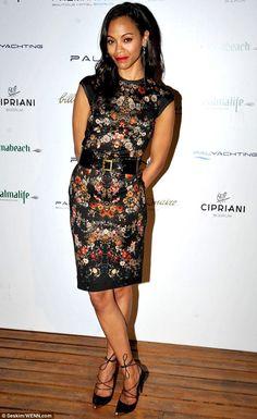 Mediterranean marvel: Zoe Saldana was glamorous in her black floral dress to hit up the Palmarina Bodrum hotel opening night party in Turkey on Saturday