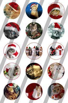 Christman Cat digital collage sheet 4x6 for bottlecaps - 1 inch - INSTANT DOWNLOAD (1.69 EUR) by DesignandArtbyLeo