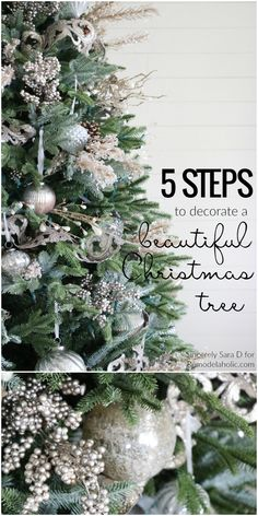 How to Decorate a Christmas Tree, in Just FIVE Steps! A beautiful well-decorated Christmas tree might look daunting, but this process will help you make it catalog-worthy, whether your style is more sparkly glam or more cottage rustic. Details from Ribbon On Christmas Tree, Christmas Home, Christmas Holidays, Christmas Wreaths, Holiday Ornaments, Christmas Tree Inspo, Christmas Tree Simple, Xmas Trees, Christmas Tress Decorated