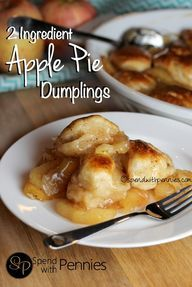 Apple Pie Dumplings! Use 1 regular can and 1 small can of crescents, cut them in half lengthwise and then into 12 (6) slices. Make homemade filling, worth the effort. Apple Pie Dumplings, Peach Dumplings, Fun Desserts, Apple Desserts, Dessert Recipes, Apple Recipes, Fruit Recipes, Vegan Recipes, Empanadas