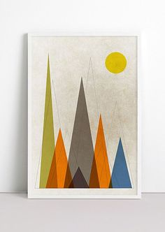 Mountains Retro Geometric Art Print Mountains are calling by Fybur