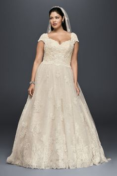 Cap Sleeve Lace Plus Size Ball Gown Wedding Dress Ivory Champagne
