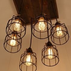 Cage Light Chandelier - Cage Lighting - Industrial Lighting - Edison Bulb - Upcycled Wood-Hand Made in USA-Open Sky Exclusive
