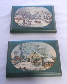 Currier and Ives Winter Scenes Decoupaged Wall Plaques by CandyAppleCrafts, $14.00
