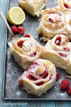 Raspberry lemon sticky buns with lemon glaze recipe from @Rachel {Baked by Rachel}