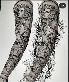 Full Tattoo, Full Sleeve Tattoo Design, Full Arm Tattoos, Tattoo Design Drawings, Best Sleeve Tattoos, Tattoo Sketches, Tattoo Designs, Mermaid Sleeve Tattoos, Tattoo Sleeves