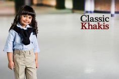 Classic Khakis for uniforms. An essential piece of the classic American uniform. Pair it with a smart blazer with your school crest and you are set for school! School Uniform Fashion, School Outfits, School Uniforms, American Uniform, School Pants, Apparel Brands, Khaki Pants, Blazer, Khakis
