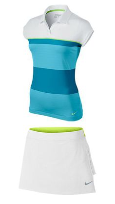White/Flash Lime & White/Volt Nike Ladies Golf Outfits (Shirt & Skort) at #lorisgolfshoppe