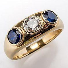 Vintage Mens Genuine Diamond & Blue Sapphire Wedding Band Ring 14K Gold $2999