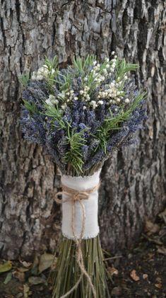 Rustic Romance Bouquet- Dried Lavender Bouquet, Dried Baby's Breath, Fresh Rosemary Bouquet, Twine, Burlap, Lace