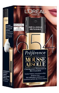 loral paris prfrence mousse absolue coloration rutilisable 654 auburn sensationnel - Casting Coloration