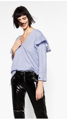 Zara Patent Leather Finish Biker Trousers With Zips Size M Uk 10 Genuine Zara | eBay