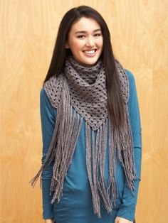 Big Fringe Triangle Scarf | Yarn | Free Knitting Patterns | Crochet Patterns | Yarnspirations