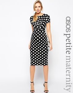 Image 1 of ASOS Maternity PETITE Body-Conscious Dress In Polka Dot  With Cross Front