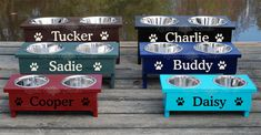 Raised Pet Feeder - Personalized Dog Bowls - Elevated Cat Dish from Rustic Cabin Studio. Saved to For the Pets. Diy Wedding Buffet, Elevated Dog Feeder, Raised Dog Bowls, Dog Bowl Stand, Dog Food Bowls, Wood Dog, Pet Feeder, Dog Crafts, Pet Beds