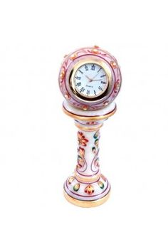 Attractive and impressive, is this pink coloured ethnic designer marble table clock handicraft sunshine #handicraftedshowpieces #onlinedecortaiveitems #tableclockonline #designertableclock #decortiveitems Shop now-  https://trendybharat.com/ethnic-design-marble-table-clock-handicraft-sunshine-srhcf145?search=handicraft%20items&page=5