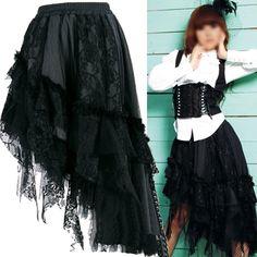 Black Lace High Low Long Gothic Burlesque Fashion Dress Skirt Women SKU-11406065