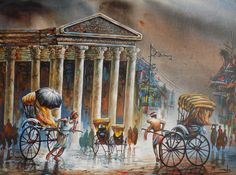 Buy Memorable Kolkata-i artwork number a famous painting by an Indian Artist Ananda Das. Indian Art Ideas offer contemporary and modern art at reasonable price. Indian Paintings, Buy Paintings, Original Paintings, Canvas Paintings, Indian Illustration, Art Hub, Indian Artist, Online Painting, Selling Art