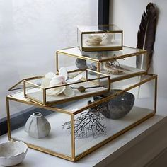 West Elm Golden Glass Shadow Box, Gold, Small Square - Clear, West Elm - Jewelry Holders - Jewelry Display -