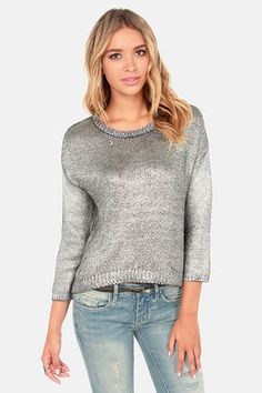 1d40e1711 BB Dakota Chey Metallic Silver Sweater at LuLus.com! I really like this  metallic