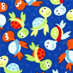 blue Timeless Treasures fabric for children with turtles