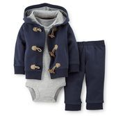 """<div><span style=""""line-height: 1.5em;"""">A navy cardigan, with toggle buttons, and matching pants pair with a grey bodysuit for the perfect mix for your baby boy. Comfy French terry and extra details make this outfit so cute and easy.</span><br></div>"""