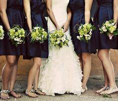 navy and green bridesmaids