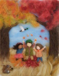 Items similar to Waldorf Seasons Autumn Needlefelt Wool Painting, Custom on Etsy Needle Felted, Wet Felting, Felt Wall Hanging, Waldorf Crafts, Felt Pictures, Character And Setting, Needle Felting Tutorials, Felt Fairy, Fabric Art