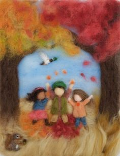 Waldorf Seasons Autumn Needlefelt Wool Painting, Custom
