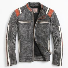 Men's Motorcycle Jacket Embroidery Skull Jacket Cowhide Coat Men's Leather Jacket