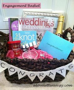 Love it ~ Engagement Basket! cute idea for my friends who will probably be getting engaged soon ~ Have fun! Engagement Gift Baskets, Engagement Party Gifts, Wedding Gifts, Engagement Ideas, Wedding Ideas, Engagement Presents, Friend Engagement Gift, Wedding Favors, Wedding Things